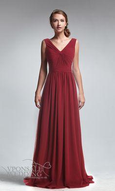 Eleagant Red V-neck Full Length Bridesmaid Dress DVW0144 | VPonsale Wedding Custom Dresses