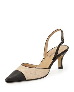 Lali Two-Tone Quilted Cap-Toe Slingback Sandal, Pudding/Black by Neiman Marcus at Neiman Marcus Last Call.