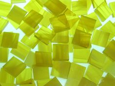 Wispy Yellow hand cut, stained glass mosaic tiles. $5.99