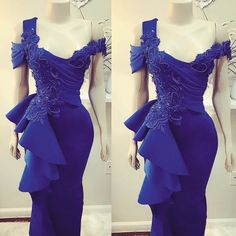 Purple Evening Gowns, Royal Blue Evening Dress, Mermaid Evening Dresses, Cheap Formal Dresses, Dress Silhouette, Lace Applique, African Fashion, Style, Royal Blue Evening Gown