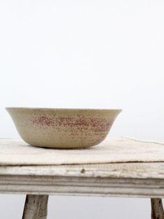 Vintage Studio Pottery / Beige and Pink Bowl
