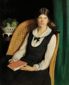 Adelaide Cole Chase    Portrait of a Young Girl Seated with a Book