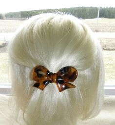 VTG HAIR CLIP GRIP PIN HEAD PIECE BARRETTE FAUX TORTOISE SHELL PLASTIC BOW SHAPE 35$