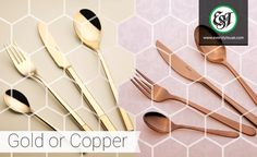 What's your favourite metallic hue – gold or copper? Browse Sola's collection of metallic cutlery with us. Kitchenware, Tableware, Dining Decor, Cutlery, Uae, Hospitality, Metallic, Copper, Gold