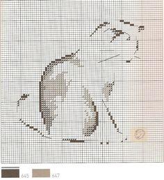 0 point de croix grille et couleurs de fils silhouette chat - cat - m-t st aubin