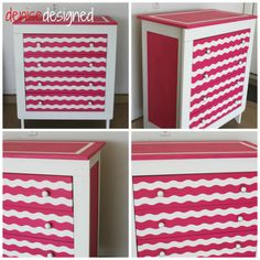"Stripes on this dresser made with Frog Tape brand ""Shape Tape"".  Awesome!"