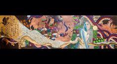 """""""The Pursuit of Venus"""" 28""""x96"""" Oil and metal leaf on oak panel."""