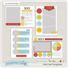 Info Card Templates by Scrapping with Liz #ScrapOrchard