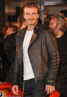 Hell for leather: The 38-year-old certainly looked the part in his leathers, gelled back hair and stubble