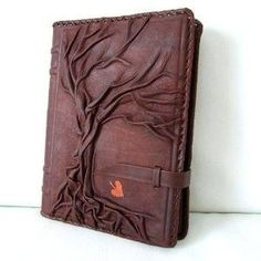 Exclusive Handmade Embossed Leather JOURNAL - Refillable - 9 x 6.5 - TREE OF LIFE - Brown - blank