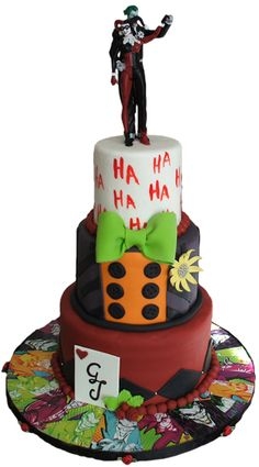 3 Tier fondant Joker and Harley Quinn themed wedding cake - wedding cakes Lancaster PA