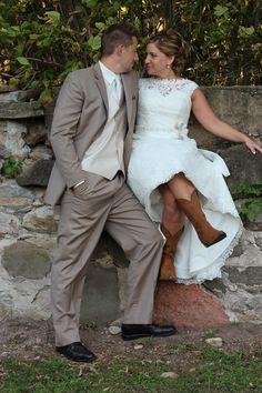 Raegan & Adam, Married. The Barn at Harvest Moon Pond. Photo by Meghan Straveler. #wedding #photography #boots