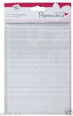 """Papermania Clear Acrylic Block 5 x 7"""" with Grid for Mounting Rubber Stamps   eBay"""