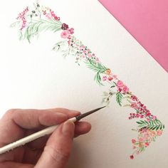 Watercolor Border, Wreath Watercolor, Watercolor Cards, Watercolour Painting, Watercolor Flowers, Painting & Drawing, Watercolors, Watercolor Projects, Watercolour Tutorials