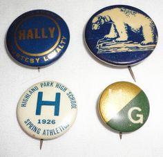 4 Vintage Highland Park High School Pin Back Buttons