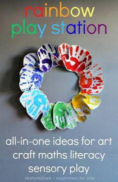 Head over heels for this rainbow handprint craft!