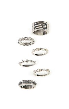 Deb Shops Set of 6 Rings with Stones and Pearls $4.80