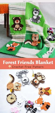 Wow, Forest Friends Baby Blanket Crochet Free Pattern is absolutely unique and adorable. The themed blanket is very funny and educational to children. Crochet Applique Patterns Free, Crochet Baby Blanket Free Pattern, Baby Afghan Crochet, Free Crochet, Quilt Baby, Easy Knit Baby Blanket, Crocheted Baby Blankets, Kids Blankets, Forest Friends