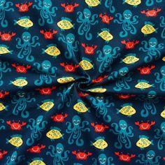 Baumwoll Stretch Jersey  Sea Life Octopus  Farbe Navy-Blau