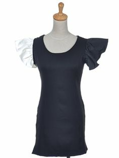 Why?  Why just ONE white ruffle??? Anna-Kaci S/M Fit Black White Color Contrast « Impulse Clothes
