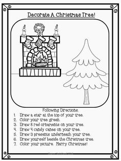 Art therapy activities christmas Super Second Grade Smarties: Free Christmas Activities- 12 Days of Freebies # Art Therapy Activities, Classroom Activities, Preschool Activities, Social Activities, Group Activities, Christmas Writing, Preschool Christmas, Christmas Math, Following Directions Activities