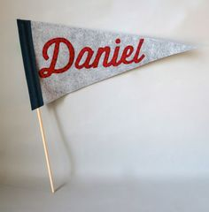 Personalized Felt Pennant  Grey Navy and Red Vintage by betawife, $50.00