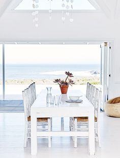 This stunning South African beach house is located in Grotto Bay, an area close to Cape Town which is part of the Cape West Coast Biosphere Reserve, where natural beauty, biodiversity, history and cul Beach Cottage Style, Beach House Decor, Coastal Style, Coastal Decor, Home Decor, Decor Room, Coastal Homes, Coastal Living, Style At Home