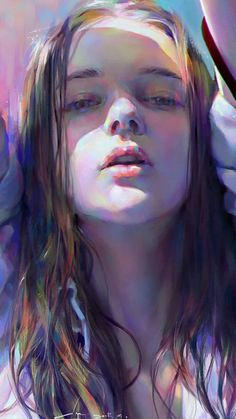 "spectrum of colors Figure"" - Yanjun Cheng, 2015 {figurative art female head woman face portrait cropped digital painting detail Face Illustration, Portrait Illustration, Digital Illustration, Portrait Art, Portrait Ideas, Woman Portrait, Woman Face, Girl Face, Figurative Art"