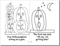 Five Little Pumpkins Song and Coloring Page For Kids
