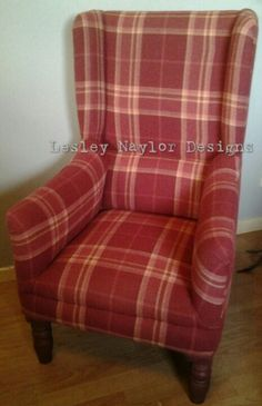 Warm raspberry wool tartan really makes this chair.