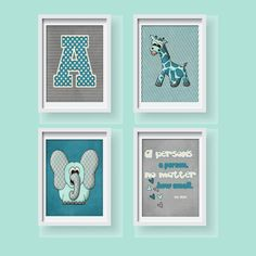 """Personalized  Initial Nursery Wall Art For Baby Room Dr. Seuss Quote- Set of 4 Prints 8x10""""- Blue Jungle Art -Colors: Blue-Turquoise No. 144 on Etsy, $50.00"""