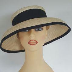 Ladies Wedding Hat Races Mother Bride Ascot Hat Navy Banding Natural