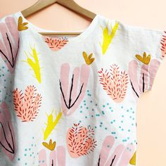 Screen Printed Ladies Cactus Bloom Pink Garden Sleeve Top