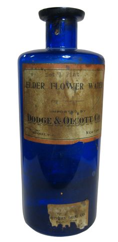 Elder Flower Water bottle from the Askew Pharmacy Collection. A mild astringent and gentle stimulant, was used in our great-grandmother's day to keep her skin fair and free from blemishes. #Houston #history