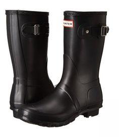 Black Wide Calf Rain Boots