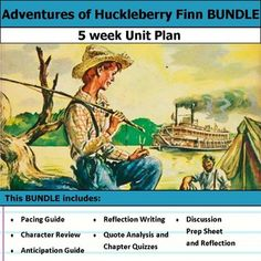 """5 weeks of lesson plans.  Includes pacing guide, film essay, activities, chapter quizzes, and discussions.  This bundle has everything you need to get started teaching Adventures of Huckleberry Finn in an engaging way!Anticipation Guide & Reflection:Get students making """"big picture"""" connections with this anticipation guide and reflective writing."""