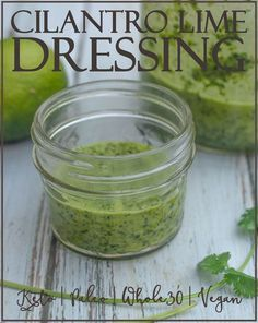 A delicious addition to any salad or Mexican-style recipe this cilantro lime dr Raw Vegan Vegetarian Paleo Gluten Free and Keto Healthy! Sugar Free Salad Dressing, Lime Salad Dressing, Whole 30 Salad Dressing Recipe, Lime Cilantro Dressing, Cilantro Lime Vinaigrette, Mexican Salad Dressings, Cilantro Salad Dressings, Healthy Sweet Snacks, Healthy Eating