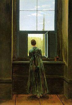 Caspar David Friedrich: Frau am Fenster (Woman at a Window, 1822), oil on canvas, 44.1×37 cm. Alte Nationalgalerie, Staatliche Museen zu Berlin