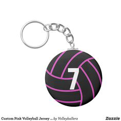 Custom Pink Volleyball Jersey Number Keychain #custom #pink #volleyball #keychain