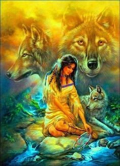Native Indian and Wolf Cross Stitch Pattern ~NEW~