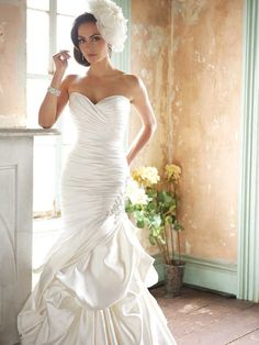 Fabulous fit and flare satin wedding dress strapless sweetheart neckline ruched asymmetrically bodice with a corset back FALW92 Fabulous fit...