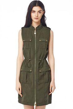 LUCLUC Army Green Zipper Belted Short Dress
