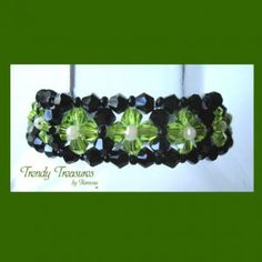 Sold! Get yours here! Black & Green Crystals Woven Bracelet,One-of-a-Kind,  #TrendyTreasuresByRamona