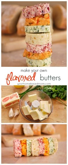Flavored-Butters: chive and parsley butter.