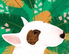 """Illustration series ""Calendar-Bullendar2018"" Bull Terrier illustration by Anna Gavryliuk"