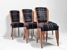 Series of six art deco chairs upholstered in black crushed velvet. Shop our full collection of Seating here at Vinterior Side Chairs, Dining Chairs, Art Deco Chair, Upholstered Chairs, Vintage Designs, Home Furniture, Upholstery, Velvet, Home Decor