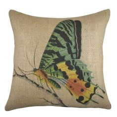 TheWatsonShop Butterfly Burlap Throw Pillow