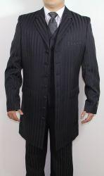 Men's 7 Button Zoot Suit Black Tonal Striped Pattern Suit