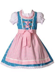 Kinderdirndl Pfarrweisach blau/rosa 3-tlg. Trachtenset | Kinderdirndl / Trachtenkleider | Mädchen | Trachtenoutlet24