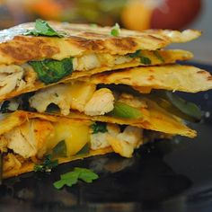 Use corn tortillas instead and this sounds like a good meal to me (chicken fajita quesadillas)